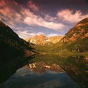 Maroon Lake & Maroon Bells Peaks, Summer, Maroon Bells-Snowmass Wilderness Area,  Near Aspen, Colorado