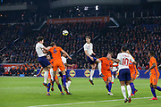 England Harry Maguire heads at goal with England defender John Stones during the Friendly match between Netherlands and England at the Amsterdam Arena, Amsterdam, Netherlands on 23 March 2018. Picture by Phil Duncan.