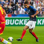 PARIS, FRANCE - September 10: Raphaël Varane #4 of France in action during the France V Andorra, UEFA European Championship 2020 Qualifying match at Stade de France on September 10th 2019 in Paris, France (Photo by Tim Clayton/Corbis via Getty Images)