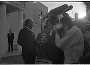Dissolution Of The 25th Dáil.  (S4)..1989..25.05.1989..05.25.1989..25th May 1989..At the request of An Taoiseach,Mr Charles Haughey TD, President Patrick Hillery agreed to sign the order for the dissolution of the 25th Dáil. Fianna Fáil the outgoing government held the majority at 81 seats. This signing formally began the general election campaign for the 26th Dáil.