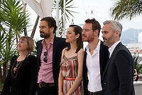 Producer Laura Hastings-Smith, director Justin Kurzel, actress Marion Cotillard, actor Michael Fassbender and producer Iain Canning at the Macbeth film photo call at the 68th Cannes Film Festival Saturday 23rd May 2015, Cannes, France.