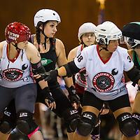 Demolition City Roller Derby at Ohio Roller Girls<br /> June 21, 2014 at Louche Building - Ohio Expo Center in Columbus, Ohio. Dorn Byg/Byg Day LLC
