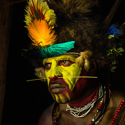 Huli wigman in his hut, Tari, Papoes New Guinea.