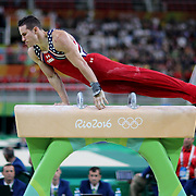 Gymnastics - Olympics: Day 3   Alexander Naddour #196 of the United States performing his Pommel Horse routine during the Artistic Gymnastics Men's Team Final at the Rio Olympic Arena on August 8, 2016 in Rio de Janeiro, Brazil. (Photo by Tim Clayton/Corbis via Getty Images)