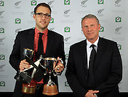 New Zealand cricket captain Daniel Vettori named The National Bank Player of the year 2009/10 with NZ Football All Whites coach Ricki Herbert. National Bank NZ Cricket Awards Dinner at the Langham Hotel, Auckland, Thursday 9 September 2010. Photo: Andrew Cornaga/PHOTOSPORT