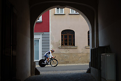 Gabrielle Pilote Fortin sets off on a course recon at Thüringen Rundfarht 2016 - Stage 4 a 19km time trial starting and finishing in Zeulenroda Triebes, Germany on 18th July 2016.