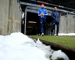 Adam Smith and Sam Slocombe of Bristol Rovers arrive at StadiumMK for the match against Milton Keynes Dons - Mandatory by-line: Robbie Stephenson/JMP - 03/03/2018 - FOOTBALL - Stadium MK - Milton Keynes, England - Milton Keynes Dons v Bristol Rovers - Sky Bet League One