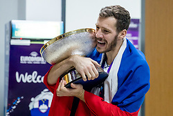 Goran Dragic of Slovenia celebrating in a locker room after winning during the Final basketball match between National Teams  Slovenia and Serbia at Day 18 of the FIBA EuroBasket 2017 when Slovenia became European Champions 2017, at Sinan Erdem Dome in Istanbul, Turkey on September 17, 2017. Photo by Sportida