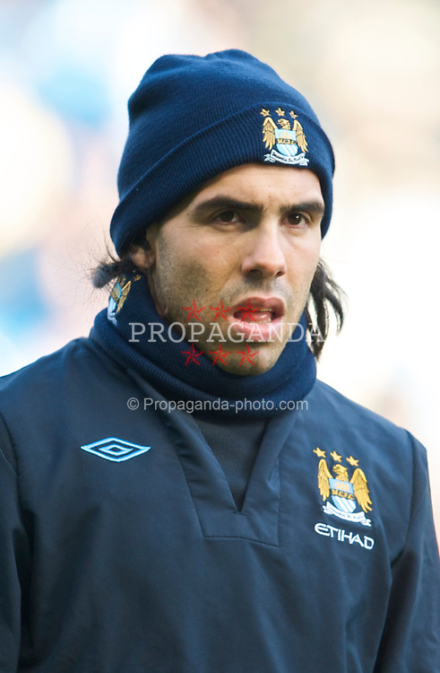 MANCHESTER, ENGLAND - Sunday, January 31, 2010: Manchester City's Carlos Tevez before the Premiership match against Portsmouth at the City of Manchester Stadium. (Photo by David Rawcliffe/Propaganda)