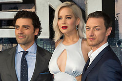 © Licensed to London News Pictures. 09/05/2016.  OSCAR ISAAC, JENNIFER LAWRENCE and JAMES MCAVOY attend the global fan screening of X-Men: Apocalypse.  London, UK. Photo credit: Ray Tang/LNP
