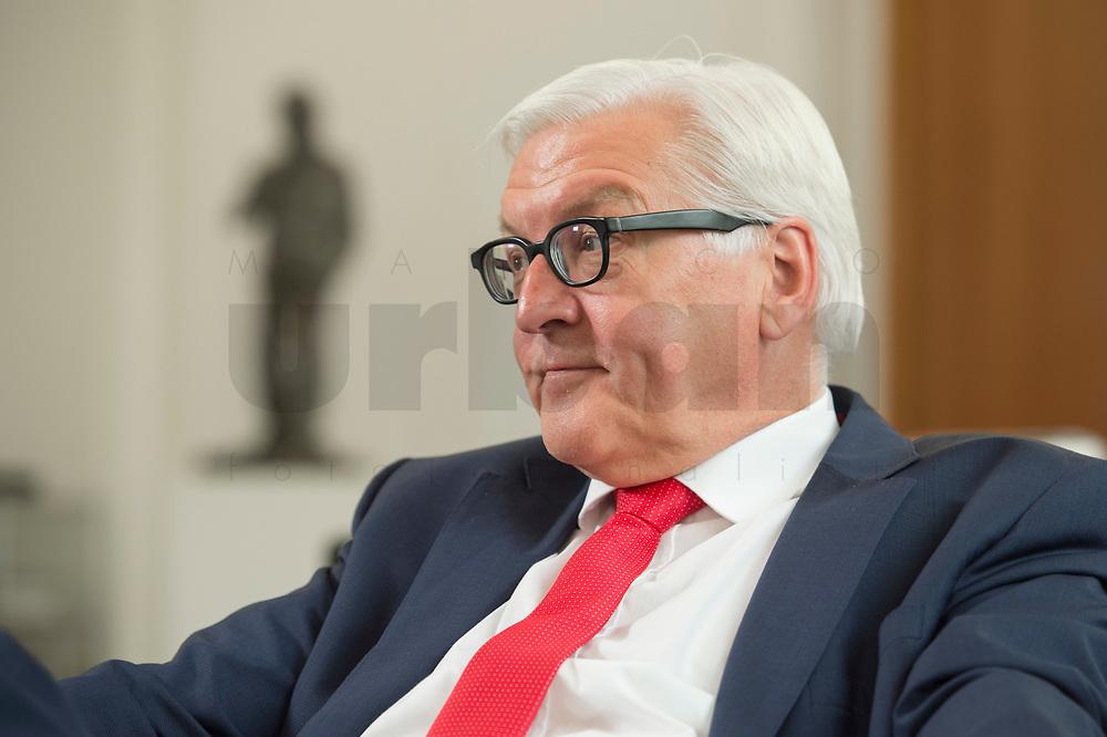 27 JUL 2016, BERLIN/GERMANY:<br /> Frank-Walter Steinmeier, SPD, Bundesaussenminister, waehrend einem Interview, in seinem Buero, Auswaertiges Amt<br /> IMAGE: 20160727-01-024<br /> KEYWORDS: Büro