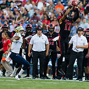 02 September 2017: San Diego State Aztecs cornerback Ron Smith #17 intercepts a pass from UC Davis Aggies quarterback Brock Dale (not pictured) in the first quarter. The Aztecs lead the Aggies 24-3 at the half at Qualcomm Stadium in San Diego, California. <br /> www.sdsuaztecphotos.com