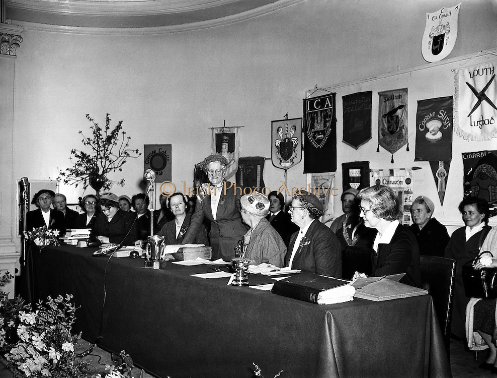 """Irish Country Women's Association annual General Meeting at Mansion House.17/04/1958..The Irish Countrywomen's Association (ICA) is the largest women's organisation in Ireland, with over 15,000 members. Founded in 1910, it exists to prove social and educational opportunities for women and to improve the standard of rural and urban life in Ireland. Its central office is in Dublin..Two of its former presidents, Kit Ahern and Peggy Farrell, were nominated by the Taoiseach to serve in Seanad Éireann, the upper house of the Oireachtas (the Irish parliament). A third, Patsy Lawlor was elected to the Cultural and Educational Panel in 1981..The organisation has been campaigning for """"fair play"""" for women who receive wrong cancer diagnosis, and in December 2007 it organised a meeting in Dublin of 1,100 women, one of a series of such meetings around Ireland."""