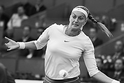 May 8, 2019 - Madrid, Spain - (EDITOR'S NOTE: Image was converted to black and white) Petra Kvitova of the Czech Republic returns in her match against Caroline Garcia of France during day five of the Mutua Madrid Open at La Caja Magica on May 08, 2019 in Madrid, Spain. (Credit Image: © Oscar Gonzalez/NurPhoto via ZUMA Press)