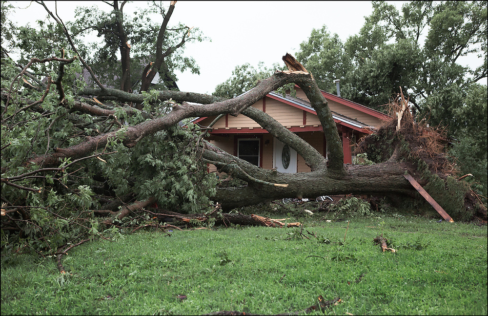 A large tree was within a few feet of landing on this house from an EF-2 tornado that ripped through Eureka, Kansas.