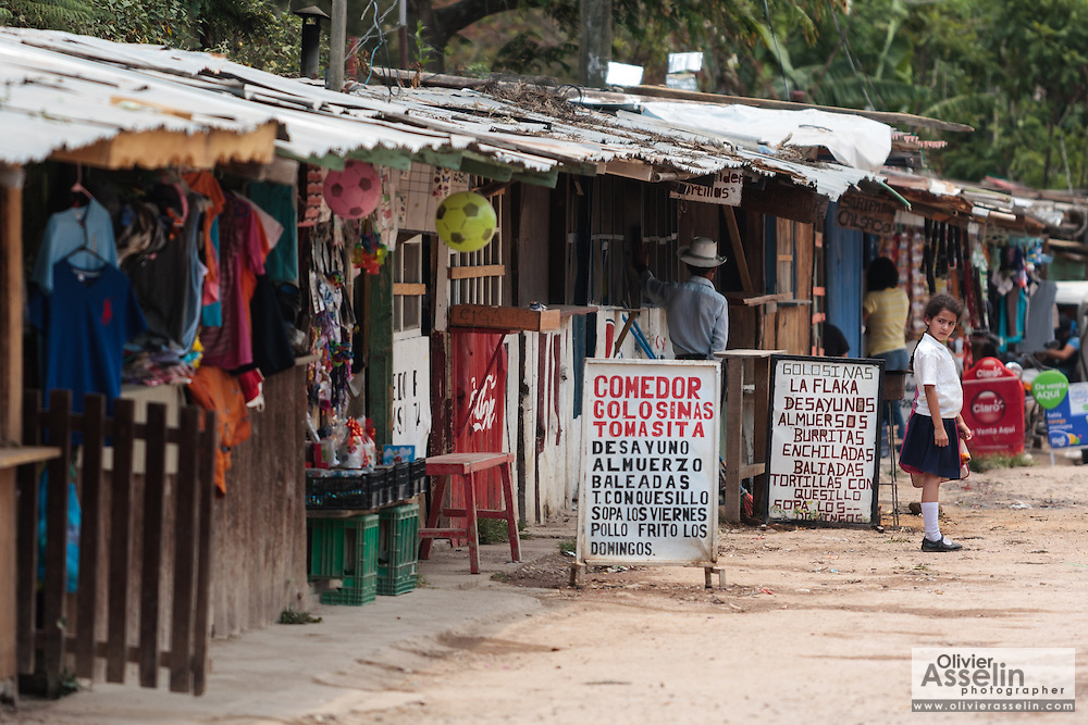 Shops and eateries in the town of Valle de Angeles, Honduras on Friday April 26, 2013.