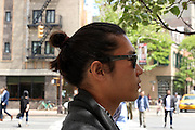 "May 15, 2013 - New York, NY. ""It's easier,"" David Lee says of his man bun. His friends cheered as his photo was taken. 05/15/2015 Photograph by Alexa R. Pipia/NYCity Photo Wire"