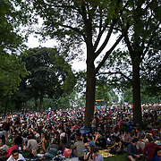 June 4, 2014 - New York, NY : <br /> Concertgoers stake out spots on the lawn at the Prospect Park Bandshell in anticipation of Janelle Monáe's performance -- the first of the 2014 Celebrate Brooklyn! concert season -- on Wednesday night.<br /> CREDIT: Karsten Moran for The New York Times