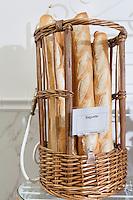 Fresh baguettes in basket