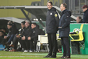 (L-R) referee *Clay Ruperti*, coach *John van den Brom* of AZ Alkmaar