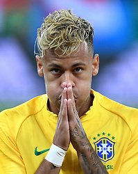 ROSTOV-ON-DON, June 17, 2018  Neymar of Brazil reacts prior to a group E match between Brazil and Switzerland at the 2018 FIFA World Cup in Rostov-on-Don, Russia, June 17, 2018. (Credit Image: © Li Ga/Xinhua via ZUMA Wire)