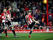 Brentford midfielder Alan Judge celebrating scoring a penalty and his second of the game during the Sky Bet Championship match between Brentford and Huddersfield Town at Griffin Park, London, England on 19 December 2015. Photo by Matthew Redman.