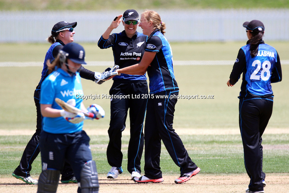 Morna Nielsen celebrates a wicket, 2nd Womens One Day International , New Zealand White Ferns v England at Mount Maunganui, New Zealand. 13 February 2015. Photo credit: Margot Butcher / www.photosport.co.nz