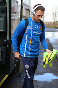 Shrewsbury Town midfielder Alex Rodman (23) gets off the team coach prior to  the EFL Sky Bet League 1 match between Scunthorpe United and Shrewsbury Town at Glanford Park, Scunthorpe, England on 17 March 2018. Picture by Mick Atkins.
