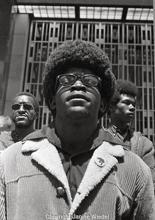 Black Panther Rally to Free Huey Newton at Federal Building in San Francisco California in May 1969