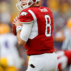 November 25, 2011; Baton Rouge, LA, USA; Arkansas Razorbacks quarterback Tyler Wilson (8) prior to kickoff of a game against the LSU Tigers at Tiger Stadium. LSU defeated Arkansas 41-17. Mandatory Credit: Derick E. Hingle-US PRESSWIRE