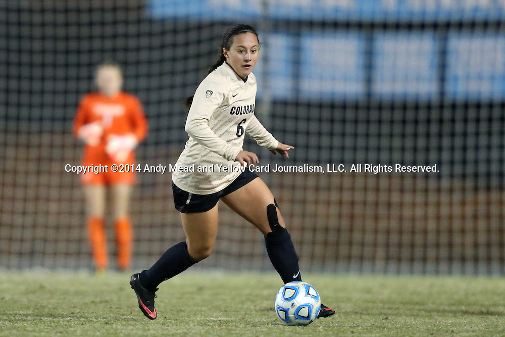 21 November 2014: Colorado's Morgan Stanton. The University of North Carolina Tar Heels hosted the University of Colorado Buffaloes at Fetzer Field in Chapel Hill, NC in a 2014 NCAA Division I Women's Soccer Tournament Second Round match. UNC won the game 1-0 in overtime.