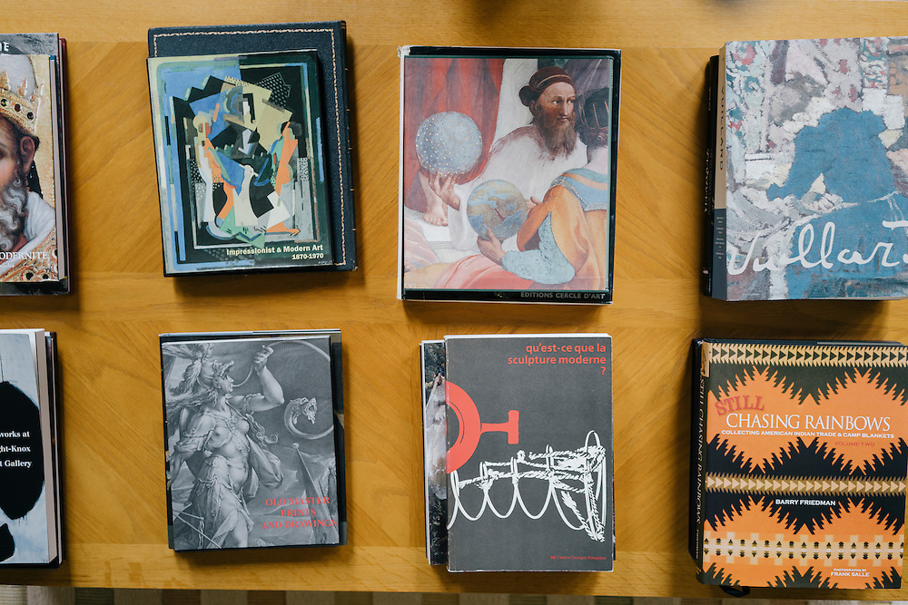 Stacks of art books in the Salon d'Hiver (Winter Room) of the French Ambassador's residence in the Kalorama neighborhood of Washington D.C. France acquired the residence in 1936.