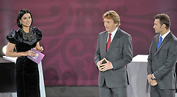 (L) PORESENTER MASHA YEFROSININA AND (C) ZBIGNIEW BONIEK (POLAND) AND (R) ANDRIY SCHEVCHENKO (UKRAINE) DURING THE UEFA EURO 2012 QUALIFYING DRAW IN PALACE SCIENCE AND CULTURE IN WARSAW, POLAND..THE 2012 EUROPEAN SOCCER CHAMPIONSHIP WILL BE HOSTED BY POLAND AND UKRAINE...WARSAW, POLAND , FEBRUARY 07, 2010..( PHOTO BY ADAM NURKIEWICZ / MEDIASPORT / SPORTIDA.COM ).