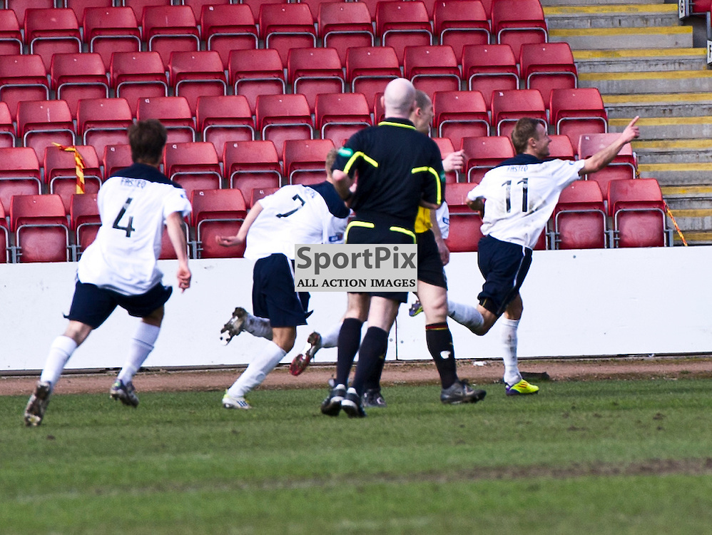 Livingston's Iain Russell (11) leads the celebrations on his goal. Partick Thistle v Livingston  Irn-Bru First Division at Firhill - 31 March 2012
