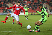 Forest Green Rovers Dan Wishart(17) crosses the ball during the Vanarama National League match between Wrexham FC and Forest Green Rovers at the Racecourse Ground, Wrexham, United Kingdom on 26 November 2016. Photo by Shane Healey.