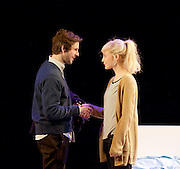 The Hard Problem <br /> by Tom Stoppard directed by Nicholas Hytner <br /> designed by Bob Crowley <br /> at the Dorfman Theatre, NT, Southbank, London, Great Britain <br /> Press photocall<br /> 27th January 2015 <br /> <br /> Damien Molony as Spike <br /> Olivia Vinall as Hilary <br /> <br /> <br /> <br /> <br /> Photograph by Elliott Franks <br /> Image licensed to Elliott Franks Photography Services