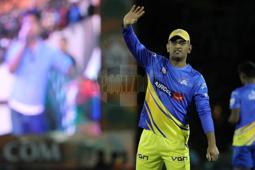 MS Dhoni captain of The Chennai Superkings before the eliminator match of the Pepsi Indian Premier League Season 2014 between the Chennai Superkings and the Mumbai Indians held at the Brabourne Stadium, Mumbai, India on the 28th May  2014<br /> <br /> Photo by Vipin Pawar / IPL / SPORTZPICS<br /> <br /> <br /> <br /> Image use subject to terms and conditions which can be found here:  http://sportzpics.photoshelter.com/gallery/Pepsi-IPL-Image-terms-and-conditions/G00004VW1IVJ.gB0/C0000TScjhBM6ikg