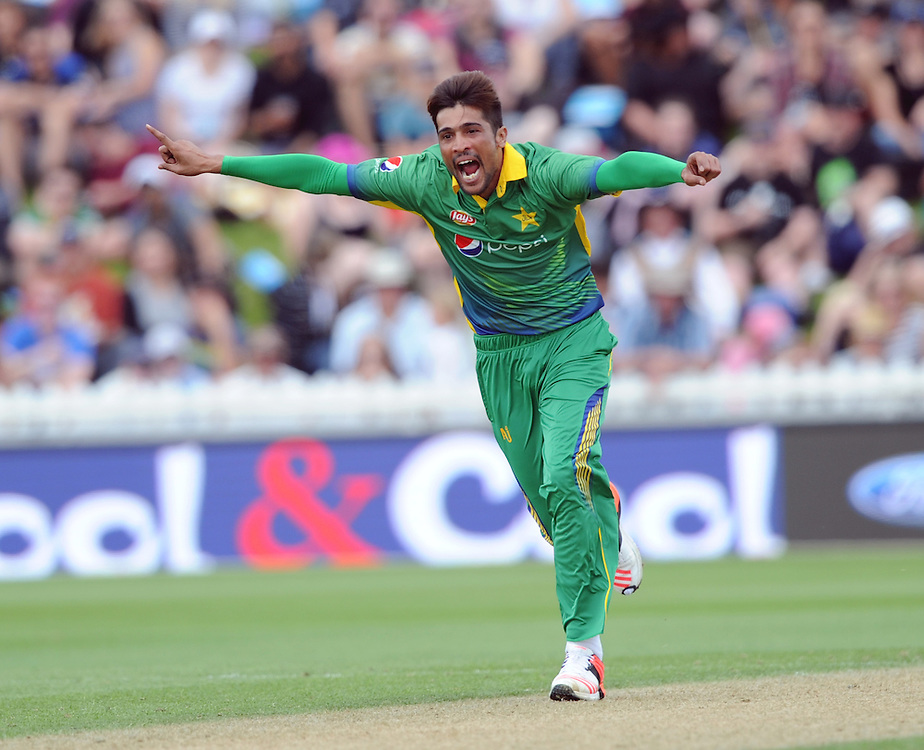 Pakistan's Mohammad Amir celebrates after dismissing New Zealand's Corey Anderson for 10 in the 1st ODI International Cricket match at Basin Reserve, Wellington, New Zealand, Monday, January 25, 2016. Credit:SNPA / Ross Setford