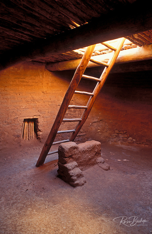 Kiva ladder and fire pit in the mission convento, Pecos Pueblo, Pecos National Historic Park, New Mexico USA