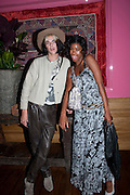 JAMES JEANETTE; TOLULA ADEYEMI, Champagne reception before the UK Premiere of COCO CHANEL & IGOR STRAVINSKY. Soho Hotel, 4 Richmond Mews. London. 25 July 2010.   -DO NOT ARCHIVE-© Copyright Photograph by Dafydd Jones. 248 Clapham Rd. London SW9 0PZ. Tel 0207 820 0771. www.dafjones.com.