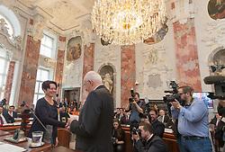 28.03.2018, Altes Landhaus, Innsbruck, AUT, konstituierende Sitzung, Tiroler Landtag, im Bild Sonja Ledl-Rossmann (ÖVP) und der scheidende Landtagspräsident Herwig van Staa (ÖVP) // during the inaugural session of the Tyrolean state parliament at the Altes Landhaus in Innsbruck, Austria on 2018/03/28. EXPA Pictures © 2018, PhotoCredit: EXPA/ Jakob Gruber