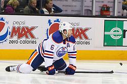 Dec 17, 2011; San Jose, CA, USA; Edmonton Oilers defenseman Ryan Whitney (6) warms up before the game against the San Jose Sharks at HP Pavilion.  San Jose defeated Edmonton 3-2. Mandatory Credit: Jason O. Watson-US PRESSWIRE