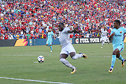 Manchester United Forward Romelu Lukaku shoots over the bar during the International Champions Cup match between Barcelona and Manchester United at FedEx Field, Landover, United States on 26 July 2017.