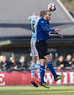 FODBOLD: Martin Koch (HB Køge) i duel med Andreas Holm (FC Helsingør) under kampen i NordicBet Ligaen mellem FC Helsingør og HB Køge den 17. marts 2019 på Helsingør Stadion. Foto: Claus Birch