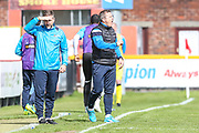 Forest Green Rovers manager, Mark Cooper<br /> gives out instructions during the Vanarama National League match between Southport and Forest Green Rovers at the Merseyrail Community Stadium, Southport, United Kingdom on 17 April 2017. Photo by Shane Healey.