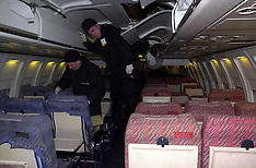 FEB 11 2000 STANSTED AIRPORT INSIDE THE  HIJACKED  PLANE