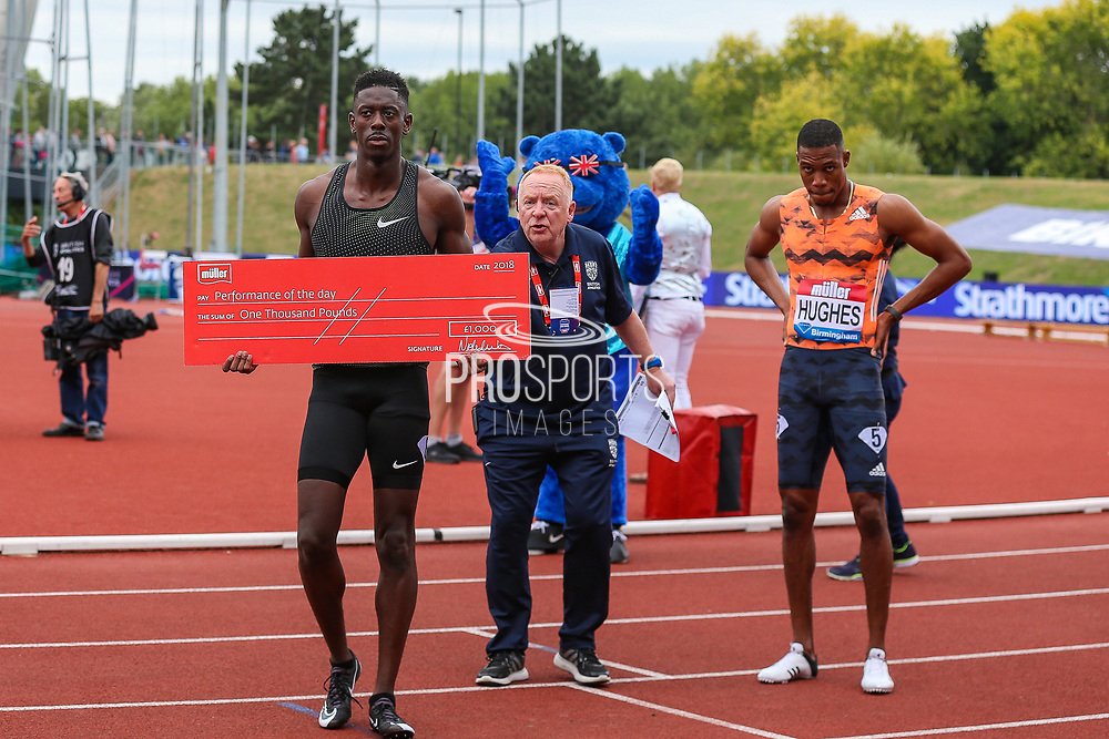 Reece PRESCOD of Great Britain is awarded with the Performance of the Day during the Muller Grand Prix 2018 at Alexander Stadium, Birmingham, United Kingdom on 18 August 2018. Picture by Toyin Oshodi.