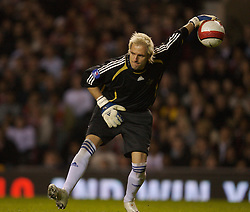Manchester, England - Tuesday, March 13, 2007: Europe XI's goalkeeper Santiagio Canizares in action against Manchester United during the UEFA Celebration Match at Old Trafford. (Pic by David Rawcliffe/Propaganda)