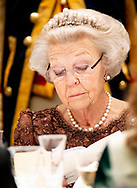 Princess Beatrix offer an state banquet to Jorge Carlos de Almeida Fonseca, president of Kaapverdie Cape Verde in the Royal Palace in Amsterdam, The Netherlands, 10 December 2018.  COPYRIGHT ROBIN UTRECHT