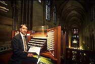 France. Paris. Notre Dame cathedral. the organist.  inside Notre dame cathedral, view from the orgue gallery